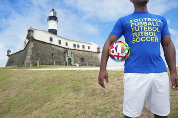 Brazilian Football Soccer Player Stands in Salvador Brazil