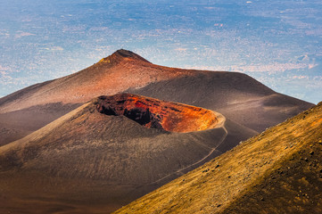 Colorful crater of Etna volcano with Catania in background, Sici Fototapete