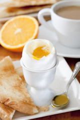 soft-boiled egg at the breakfast table.