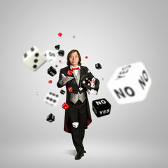 Magician with dice