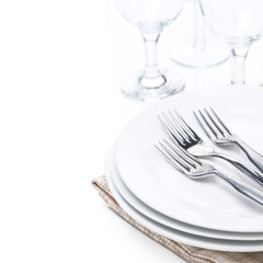 tableware - plates, forks and glasses, isolated