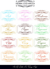 vintage labels with herbs and spices names