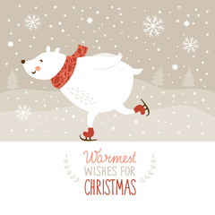 Christmas illustration, White bear skate