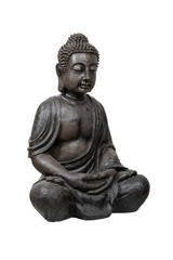 Bronze buddha statue isolated over white with clipping path