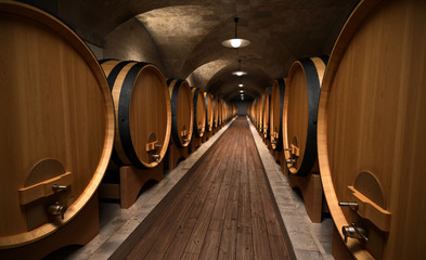 cellar with wooden barrels