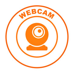 webcam sur bouton web rond orange