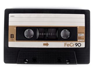 retro cassette tape over a white background
