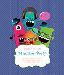 Monster Party Invitation Card Design. Vector Illustration
