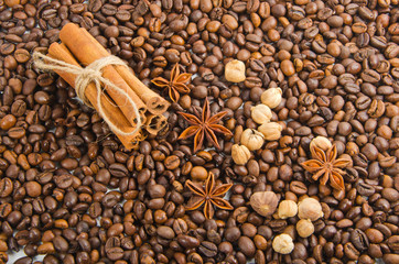 coffee beans with spice