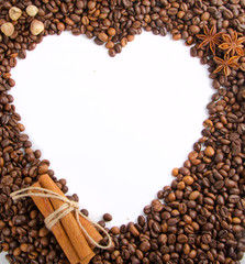 coffee beans as frame