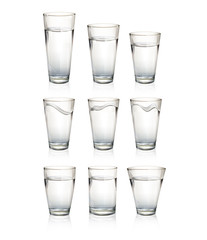 Set of realistic water glasses.