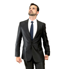 proud of himself entrepreneur over isolated white background