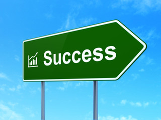 Business concept: Success and Growth Graph on road sign