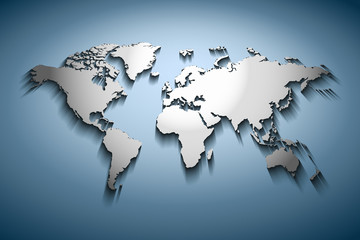 World map embossed