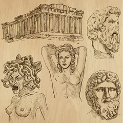 Traveling series: GREECE (set no.2) - drawings into vector set