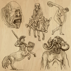 Obraz Traveling series: GREECE (set no.4) - drawings into vector set - fototapety do salonu