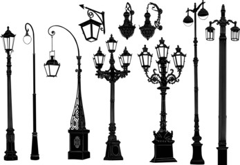 decorated ten street lamps on white