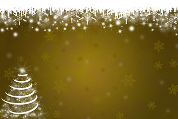 Snowflakes and Christmas Tree Background in Gold