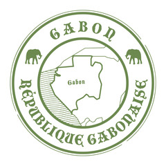 Grunge rubber stamp with the name and map of Gabon