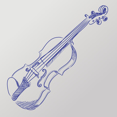 Abstract vector illustration of a sketched violin