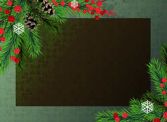 Christmas tree and red berries background