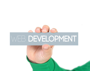 woman holding a label with web development