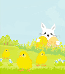 Greeting Card with Easter bunny and sweet chicks
