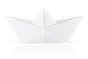 origami paper boat vector illustration