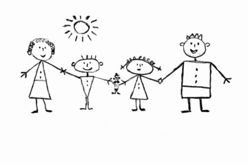 Children's drawing of a happy family