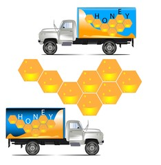 truck carrying honey, illustration