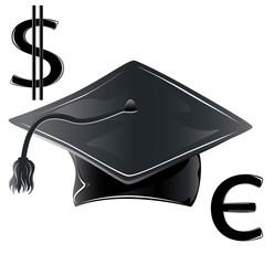 graduate hat, illustration currency