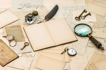 antique accessories, old letters, inkwell and ink pen