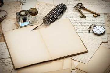 antique accessories, letters, inkwell and vintage ink pen