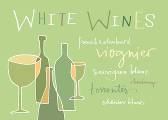 Hand-written words listing different white wines varieties