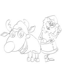 Contour of cheerful Santa Claus and reindeer