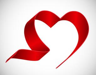 Heart from Red Ribbon Vector Illustration