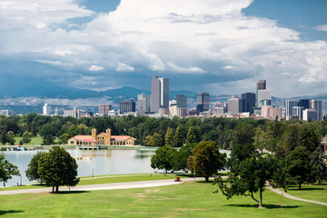 Denver Skyline Beyond Green Park