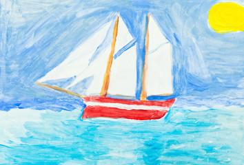 children painting - sailing vessel in blue ocean