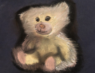 children drawing - toy soft bear
