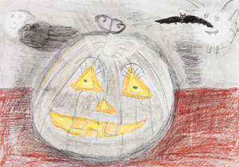 children drawing - pumpkin and black bat