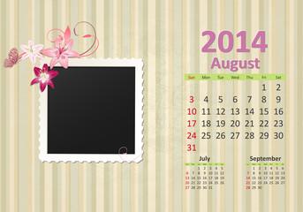 Calendar for 2014, august