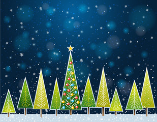 christmas forest in the night,  vector