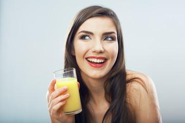 Young woman close up portrait drink juice