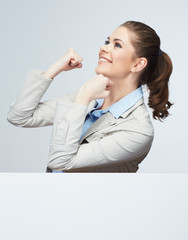 Successfull young business woman portrait out the blank white b