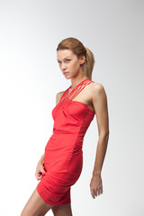 Blonde in red dress