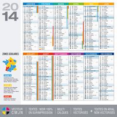 Calendrier 2014 avec carte des zones scolaires et académies