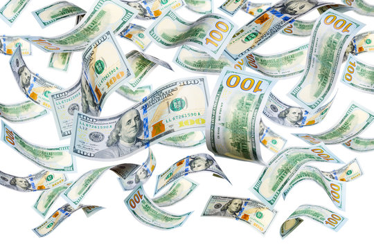 New 100 dollar bills falling and spinning isolated on white