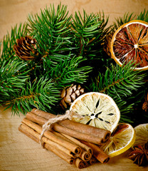 Christmas composition with dry spices