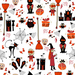 Halloween cartoon bright seamless. Background