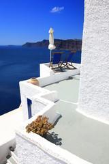 Fototapete - Grèce - Santorin (Terrasse à Oia)